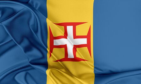 madeira: Madeira Flag. Flag with a beautiful glossy silk texture. Stock Photo