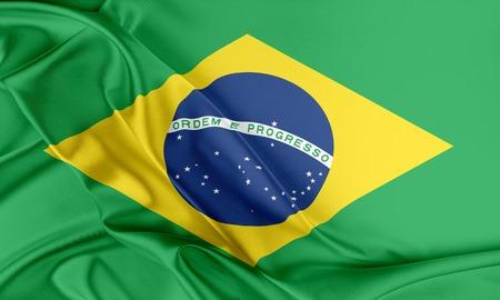 Brazil Flag. Flag with a beautiful glossy silk texture. Standard-Bild