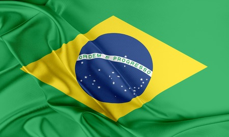 flag banner: Brazil Flag. Flag with a beautiful glossy silk texture. Stock Photo