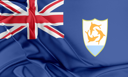 anguilla: Anguilla Flag. Flag with a beautiful glossy silk texture.