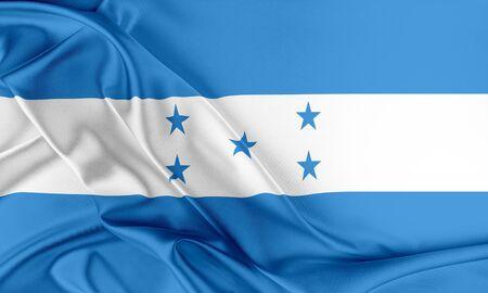 bandera honduras: Bandera de Honduras. Bandera con una hermosa textura de seda brillante.