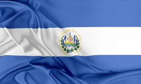 bandera de el salvador: Bandera de El Salvador. Bandera con una hermosa textura de seda brillante.