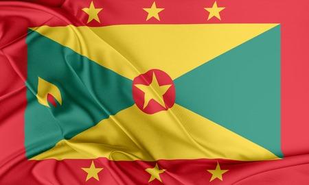 grenada: Grenada Flag. Flag with a beautiful glossy silk texture. Stock Photo