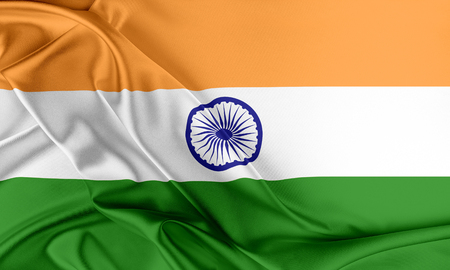 India Flag. Flag with a beautiful glossy silk texture.