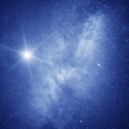 Starry sky. Milky Way galaxy and North star on the night sky. Stock Photo