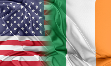 us flag: Relations between two countries. USA and Ireland