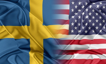 Relations between two countries. USA and Sweden Stock Photo