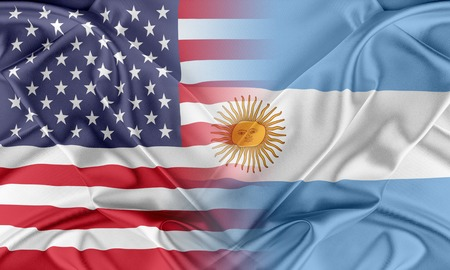 usa flags: Relations between two countries. USA and Argentina