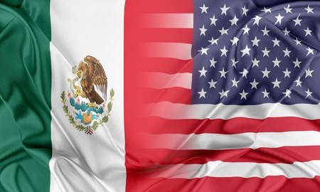 world flag: Relations between two countries. USA and Mexico Stock Photo
