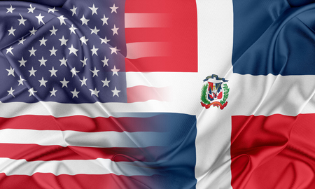 usa flags: Relations between two countries. USA and Dominican Republic Stock Photo