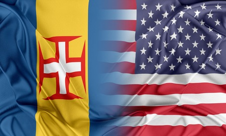 madeira: Relations between two countries. USA and Madeira Stock Photo