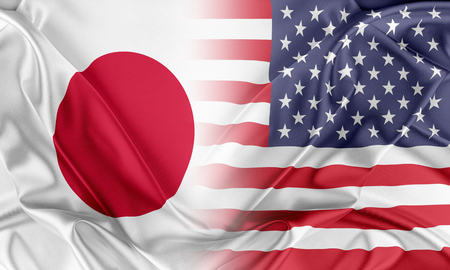 usa flags: Relations between two countries. USA and Japan
