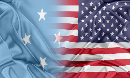 federated: Relations between two countries. USA and Federated States of Micronesia Stock Photo