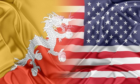 provocation: Relations between two countries. USA and Bhutan Stock Photo