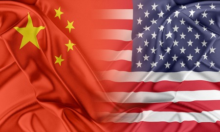 Relations between two countries. USA and China 스톡 콘텐츠