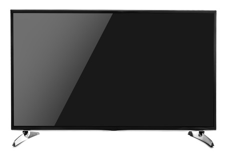 flat screen: Blank flat screen TV set. Isolated on white background. Stock Photo