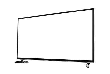 tv set: Modern blank flat screen TV set. Side view. Isolated on white background.
