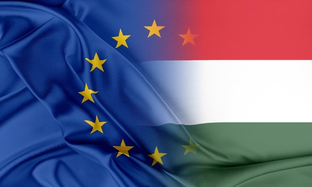 provocation: European Union and Hungary. The concept of relationship between EU and Hungary. Stock Photo