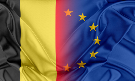provocation: European Union and Belgium. The concept of relationship between EU and Belgium. Stock Photo