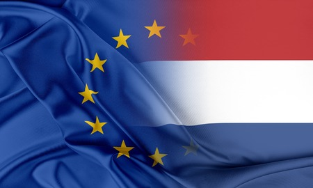 netherlands flag: European Union and Netherlands. The concept of relationship between EU and Netherlands. Stock Photo
