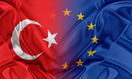 turkey: Uni�n Europea y Turqu�a. El concepto de la relaci�n entre la UE y Turqu�a. Foto de archivo
