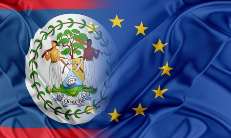 belize: European Union and Belize. The concept of relationship between EU and Belize. Stock Photo