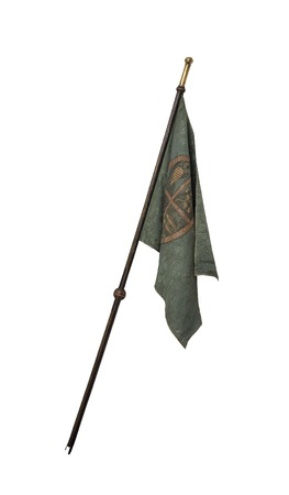 cavaliere medievale: Vecchio cavaliere bandiera isolato su sfondo bianco. Archivio Fotografico