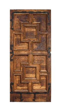 wood carving door: Old door isolated on a white background. Stock Photo