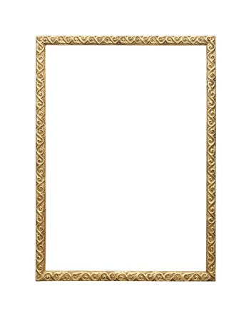 vintage photo frame: Old picture frame isolated on white background. Stock Photo