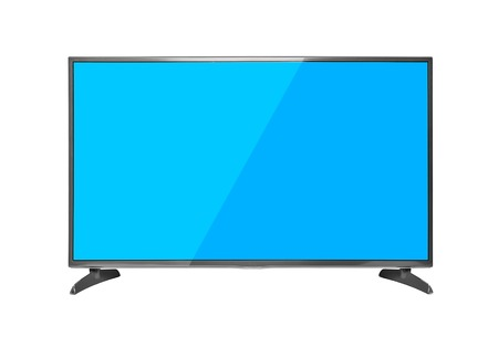 tv set: Modern TV set with blue screen. Isolated on white background.