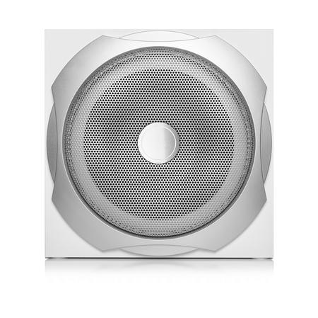 speaker system: Audio speaker. Subwoofer isolated on white background.