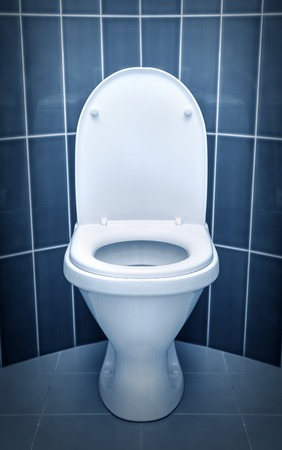 Toilet in the bathroom. Toned in cold colors. Stock Photo