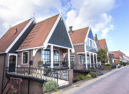 volendam: Colored houses of  Volendam, a picturesque village in the Netherlands. Stock Photo