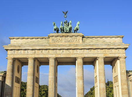 brandenburg gate: Brandenburg Gate famous landmark in Berlin, Germany. Stock Photo