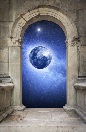 moon gate: Space and mysterious planet, through ancient antique arch.