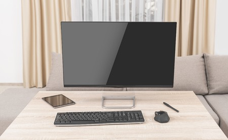 Worksplace with computer on home or office. Stock Photo