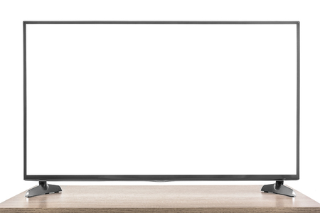 tv set: Modern TV set with white screen on the table. Isolated on white background.
