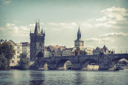 charles bridge: View on Charles Bridge in Prague, Czech Republic. Toned photo. Stock Photo