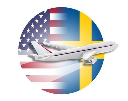 Plane on the background flags of the United States and Sweden.