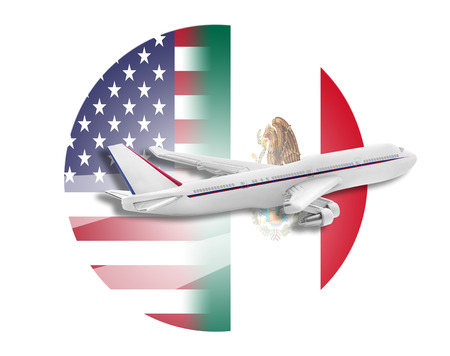 usa flags: Plane on the background flags of the United States and Mexico.