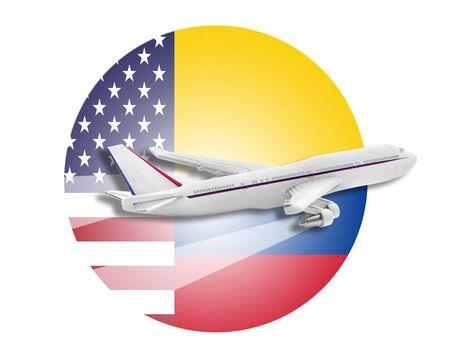 bandera de colombia: Plano en el fondo de las banderas de los Estados Unidos y Colombia.