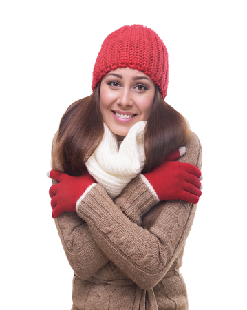 shiver: Portrait of freezing pretty woman isolated on white.