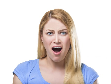 mouth opened: Shocked blonde lady with her mouth opened, isolated on white.
