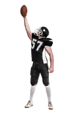 jugador de futbol americano: Jugador de f�tbol americano aisladas sobre fondo blanco.