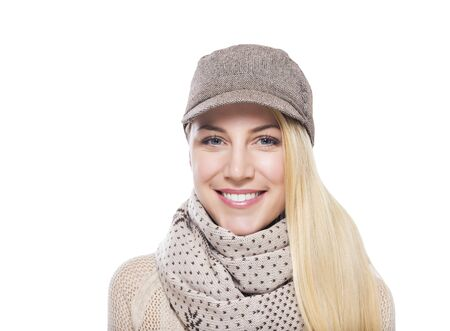 winter woman: Beautiful young woman. Isolated on white background.