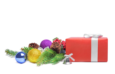 stilllife: Gift red box and christmas still-life. Isolated. Stock Photo
