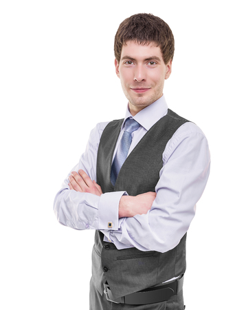 considerate: Portrait of a  business man isolated on white background.