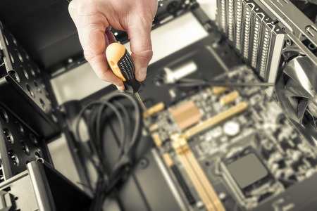 Inside of the personal computer. Computer repair concept. Toned photo.