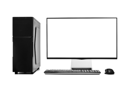 liquid crystal display: Desktop computer isolated on a white background.