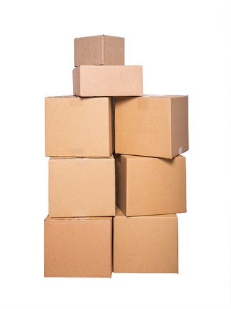 stockpiling: Cardboard boxes isolated on a white background.